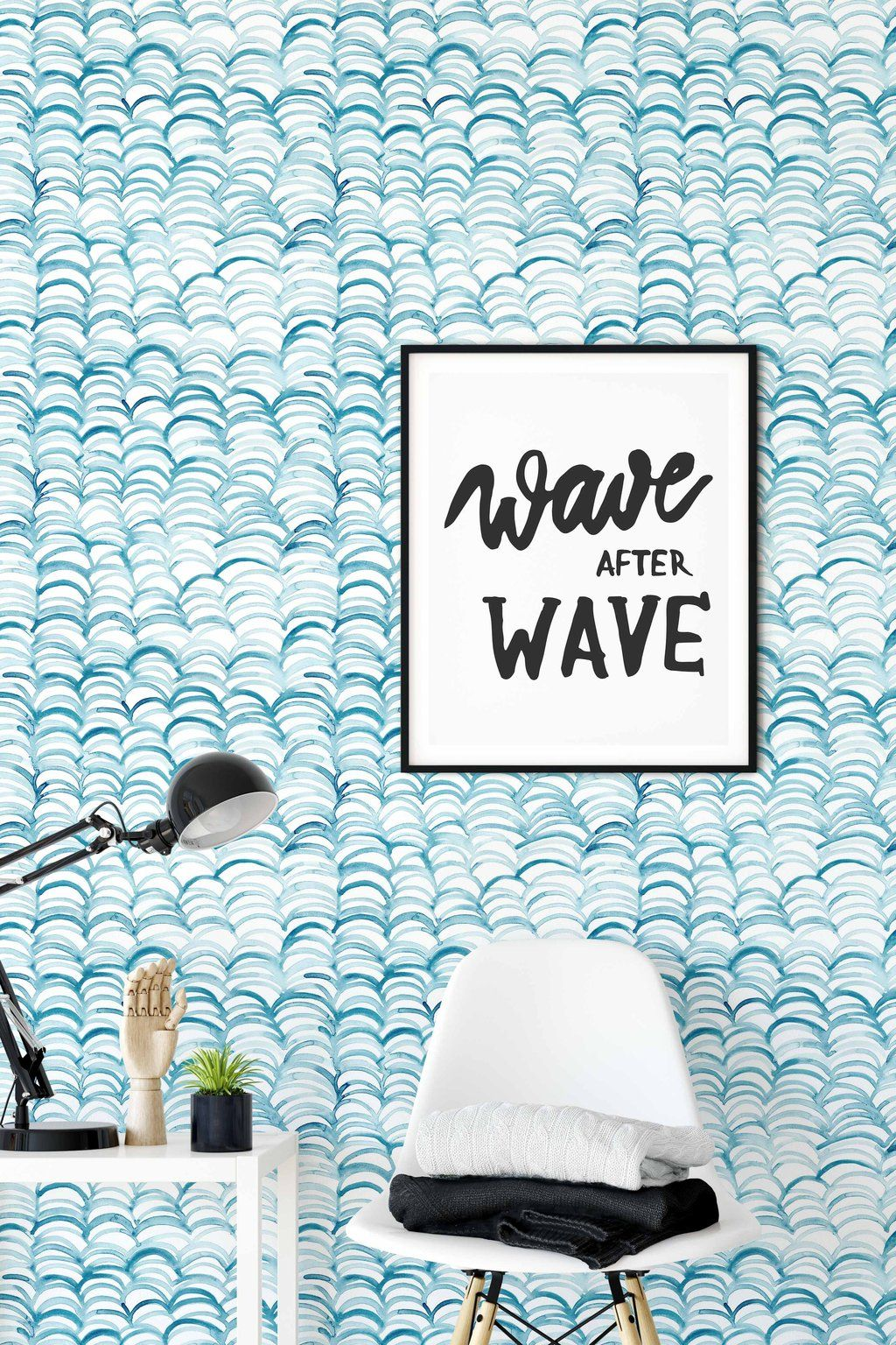 Blue Watercolor Waves Removable Wallpaper Waves Wallpaper Kids Room Wallpaper Removable Wallpaper
