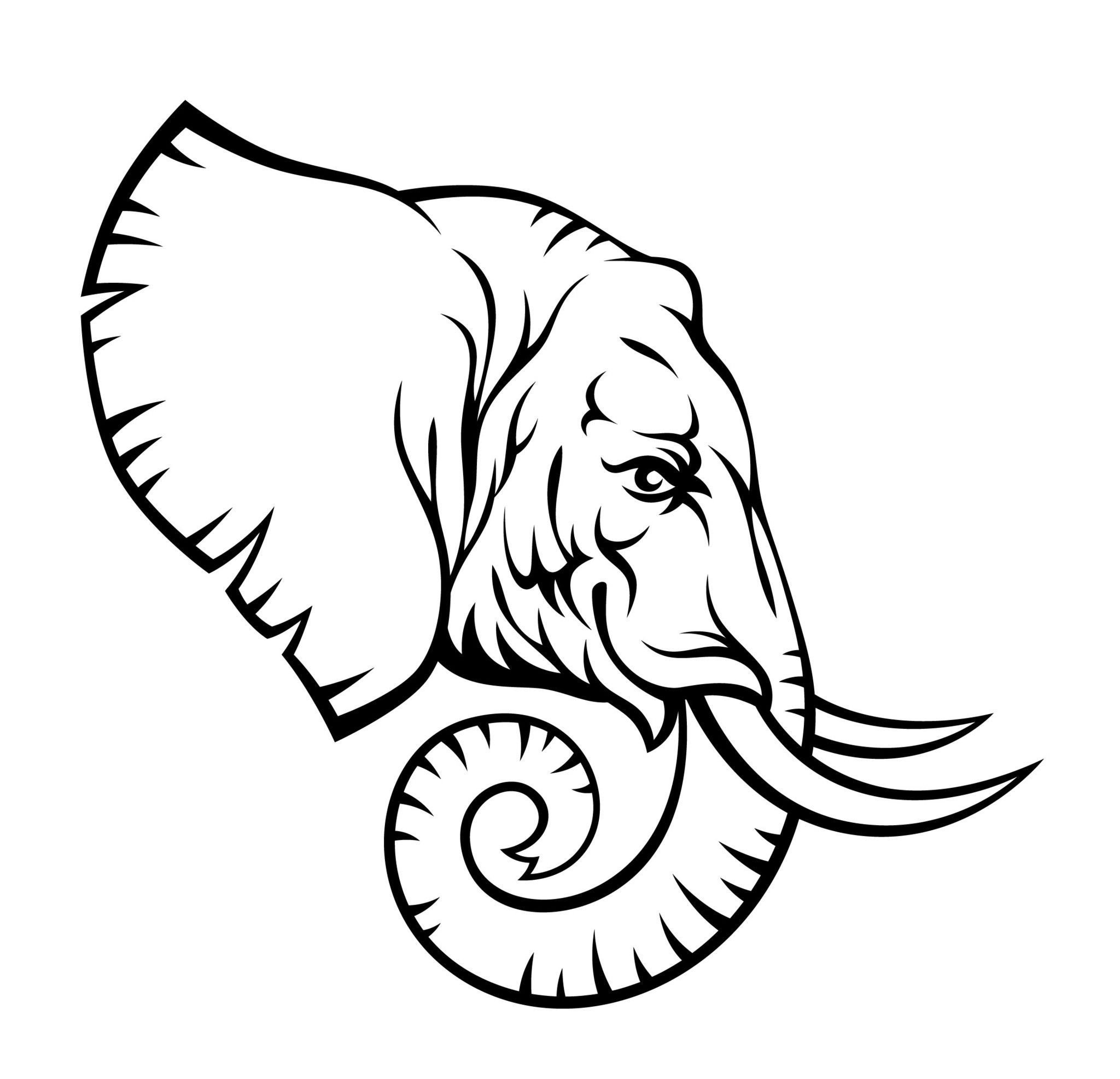 40+ Elephant Face Clipart Black And White