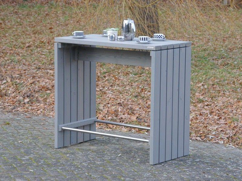 Stehtisch Bartisch Meeting Point aus Holz, Transparent Geölt Grau - bartische für küche