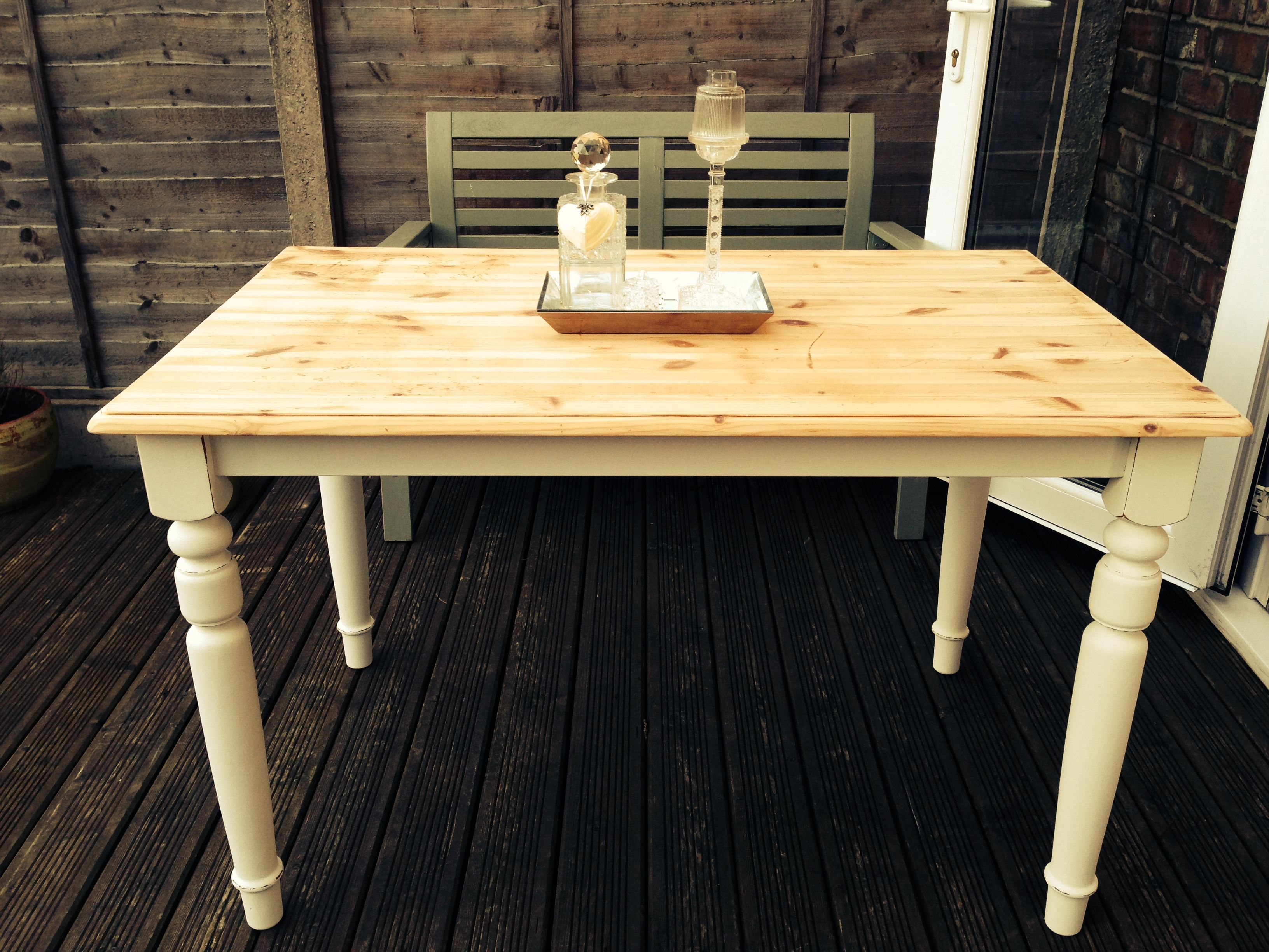 Cottage Style Table Hand Painted Using Autentico Milk Table Style Rustic Dining Table