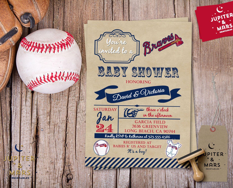 Vintage Atlanta Braves Baseball Baby Shower Invitation (Blue, Red ...