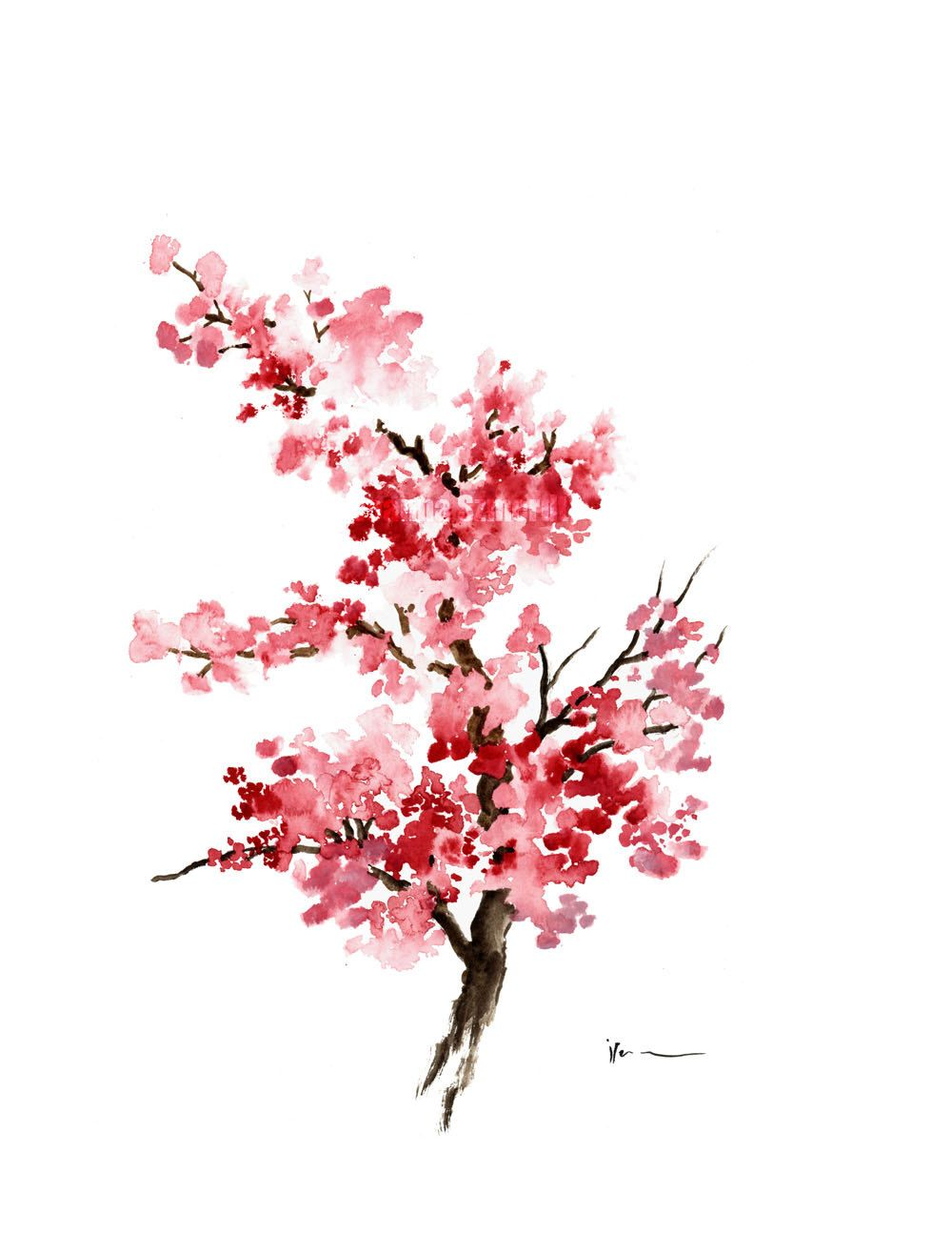 Cherry Blossom Flower Watercolor Painting Pink Gifts For Her Etsy Cherry Blossom Painting Flower Painting Watercolor Flowers