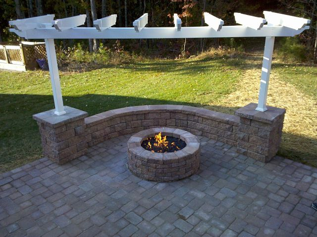 Brick Patio Wall Designs: Paver Patio With Firepit Sitting Wall And Pergola