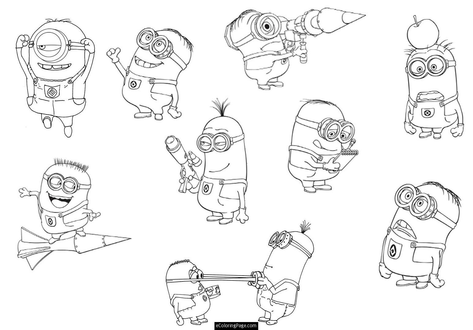 Despicable Me 2 Minions Coloring Pages Printable Minion Coloring Pages Minions Coloring Pages Cartoon Coloring Pages
