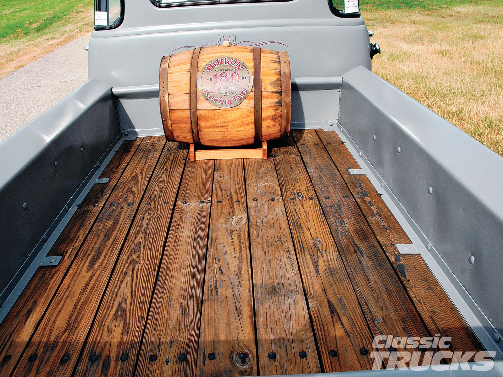 Truck Bed Storage I Think I Would Use A Steamer Trunk Instead Of A Barrel Truck Bed Chevrolet Trucks Classic Truck