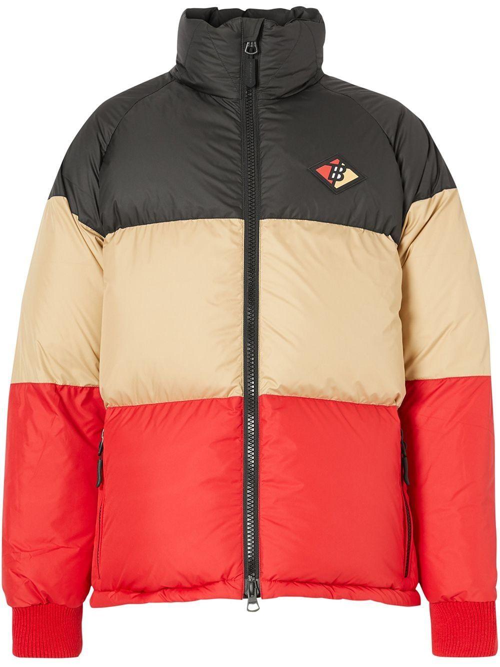 Burberry Colour Block Logo Patch Puffer Jacket Farfetch Puffer Jackets Patch Logo Designer Clothes For Men [ 1334 x 1000 Pixel ]