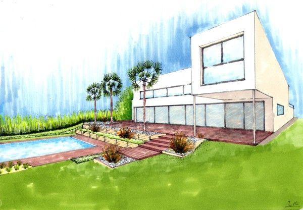 zone piscine en contrebas de la maison projets et. Black Bedroom Furniture Sets. Home Design Ideas