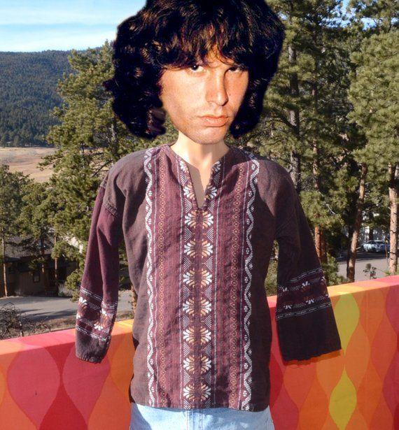 0e8b3e68 vintage 70s shirt HIPPIE mexican tunic peasant fiesta embroidered western  men Medium