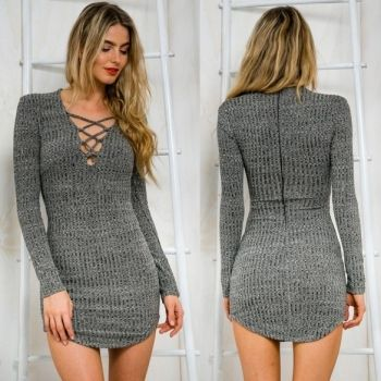 Women Knitting Dress V Neck Long Sleeve Sweater Dress Lace Up Tight Bodycon Casual Mini Dress