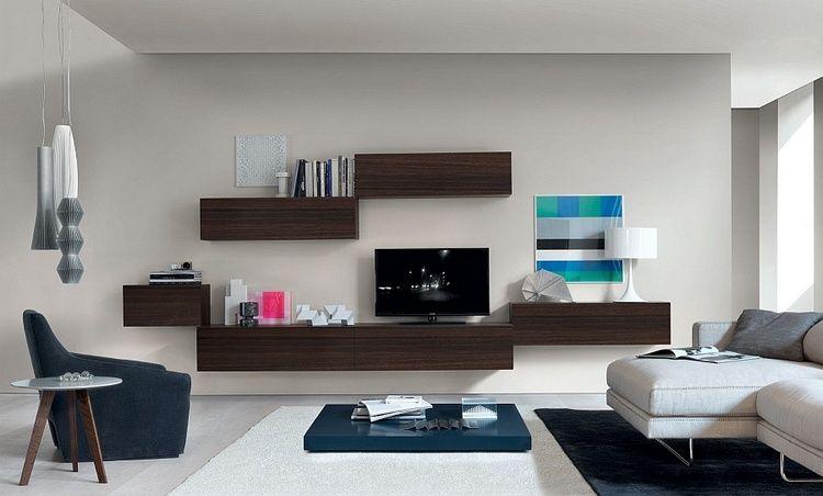 Meuble tv suspendu  25 idées pour un intérieur élégant  Salons, Apartments  -> Meuble Tv Suspendu Moderne