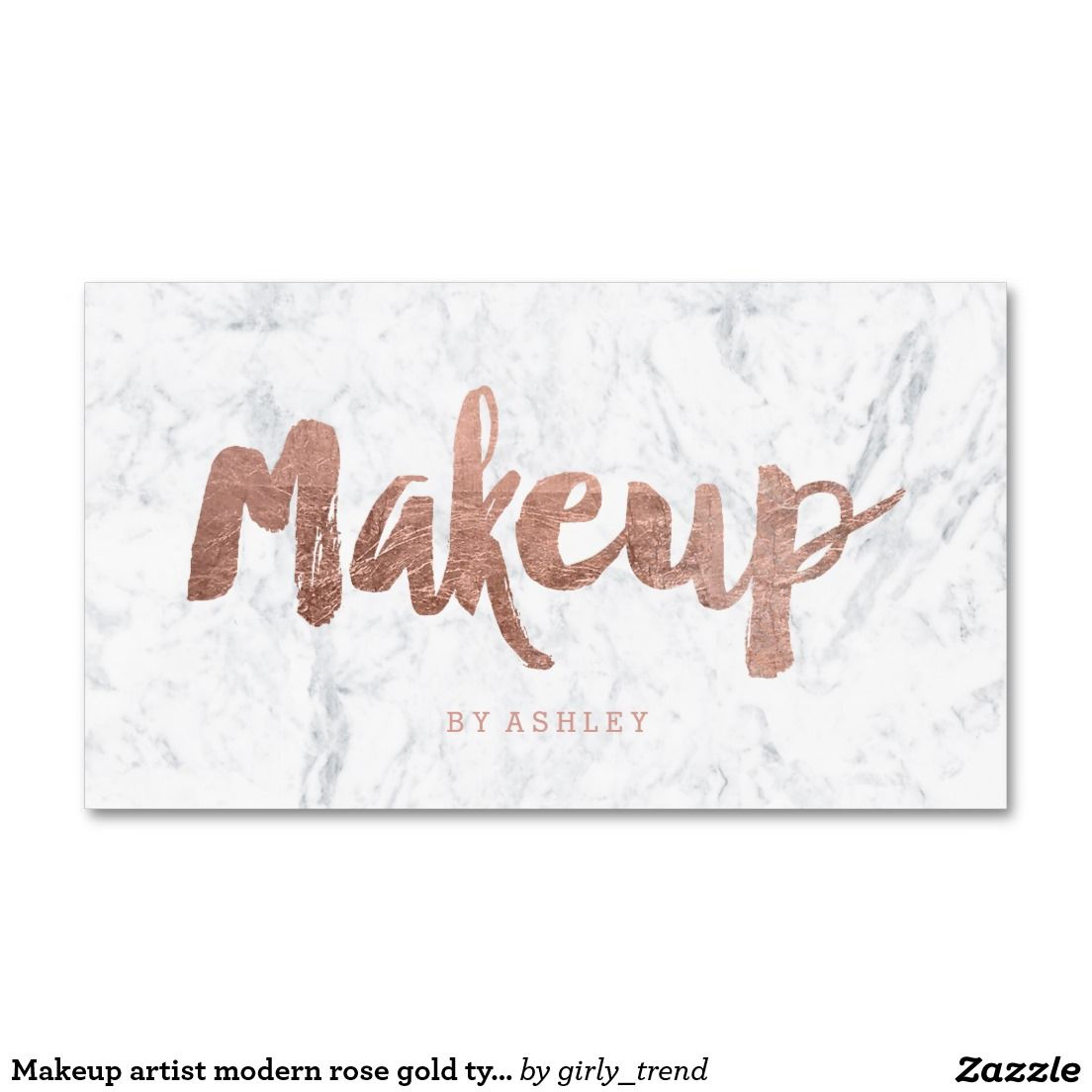 Makeup artist modern rose gold typography marble business card ...