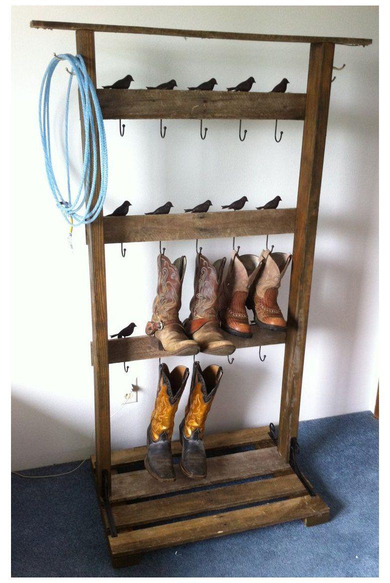 Rustic Boot Rack 6 Pair Western Decor Boot Rack-Horseshoe Cowboy Boot Organizer Boot Rack Boot Storage