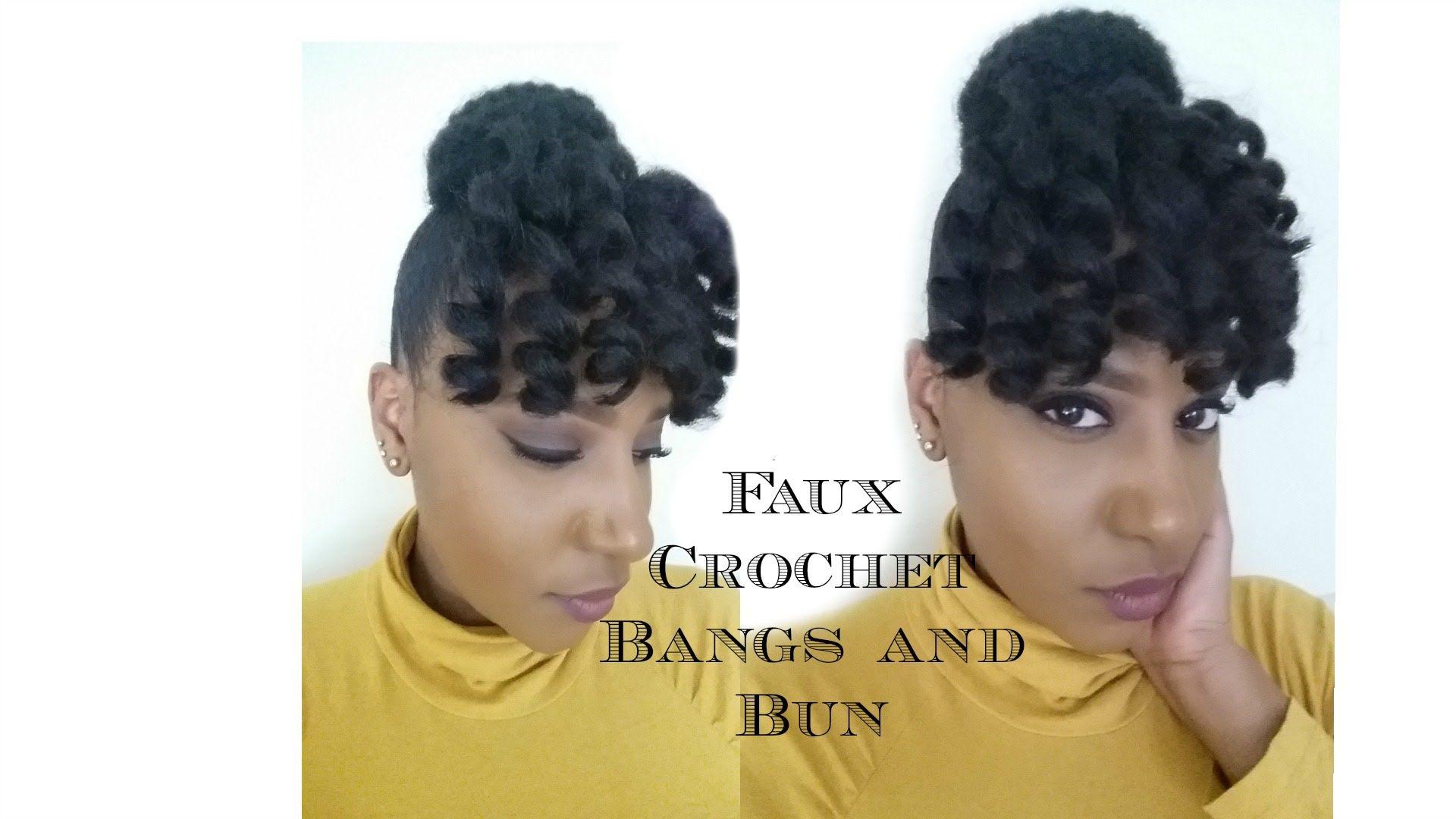 faux crochet bangs and bun| jamaican bounce and marley hair