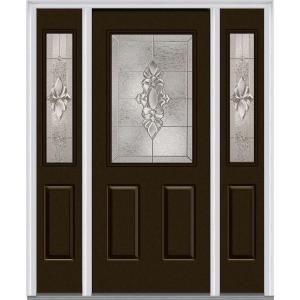 Mmi Door 64 5 In X 81 75 In Heirlooms Right Hand Inswing 1 2 Lite Decorative Painted Steel Prehung Front Door With Sidelites Z014159r Steel Doors Exterior Mmi Door Front Door