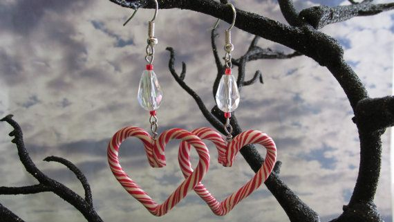 Heart Candy Cane Earrings by dragonsdreamsdesigns on Etsy