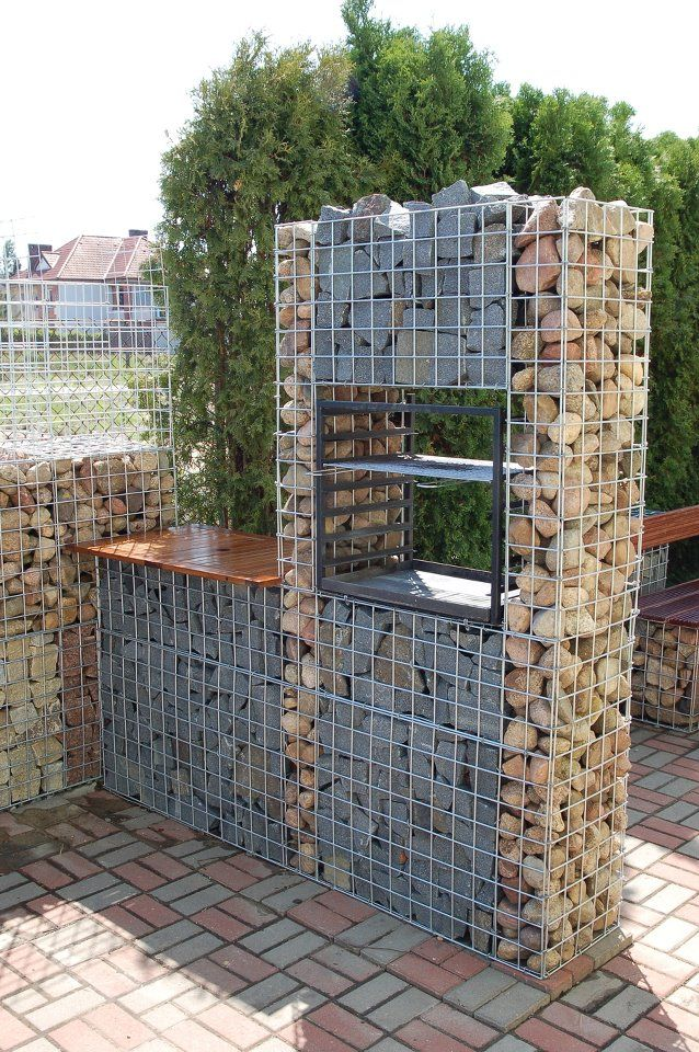 Timber And Gabion Fence In Portland Oregon, Using 2 Rows Of 5