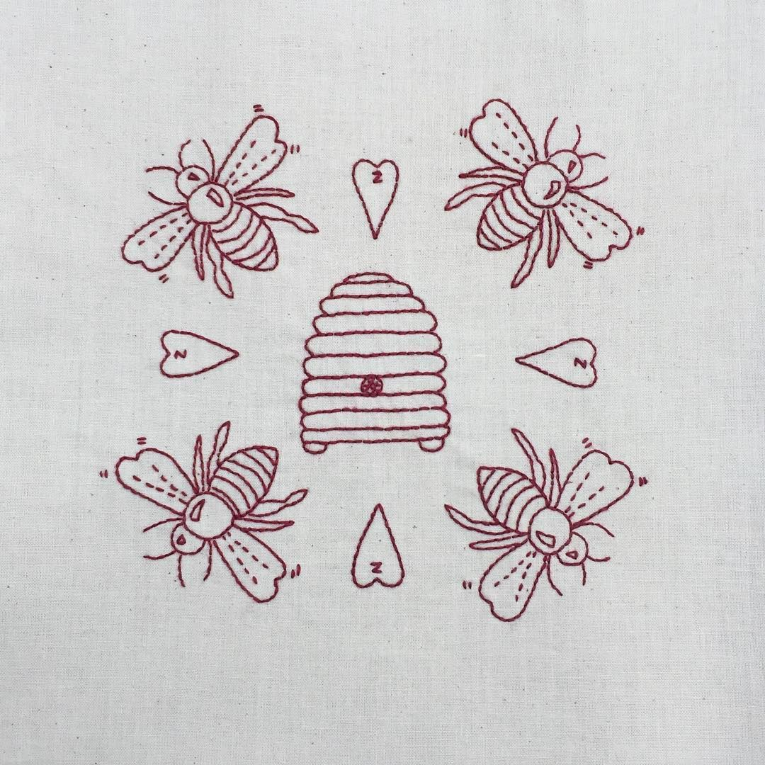 Honey bee and hive embroidery redwork | Embroidery | Pinterest