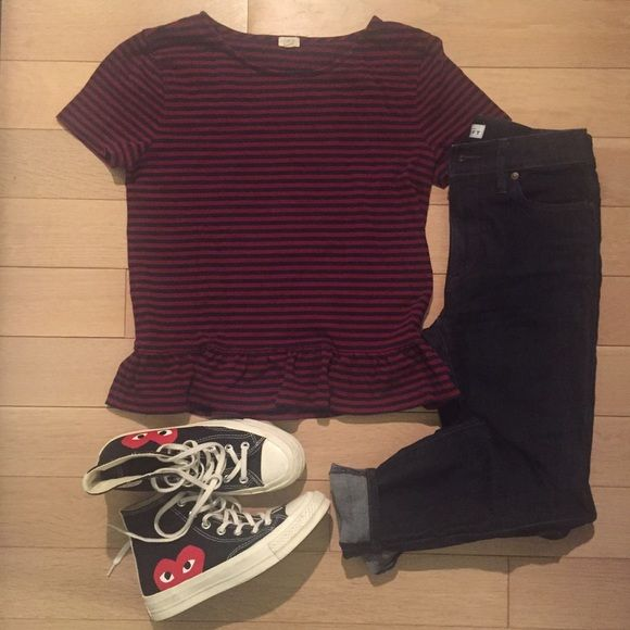 Jcrew striped peplum tee - xs Tomboy meets girly striped peplum tee shirt from Jcrew in a Burgundy + navy striped pattern.  Worn a couple times - in great condition J. Crew Tops Tees - Short Sleeve