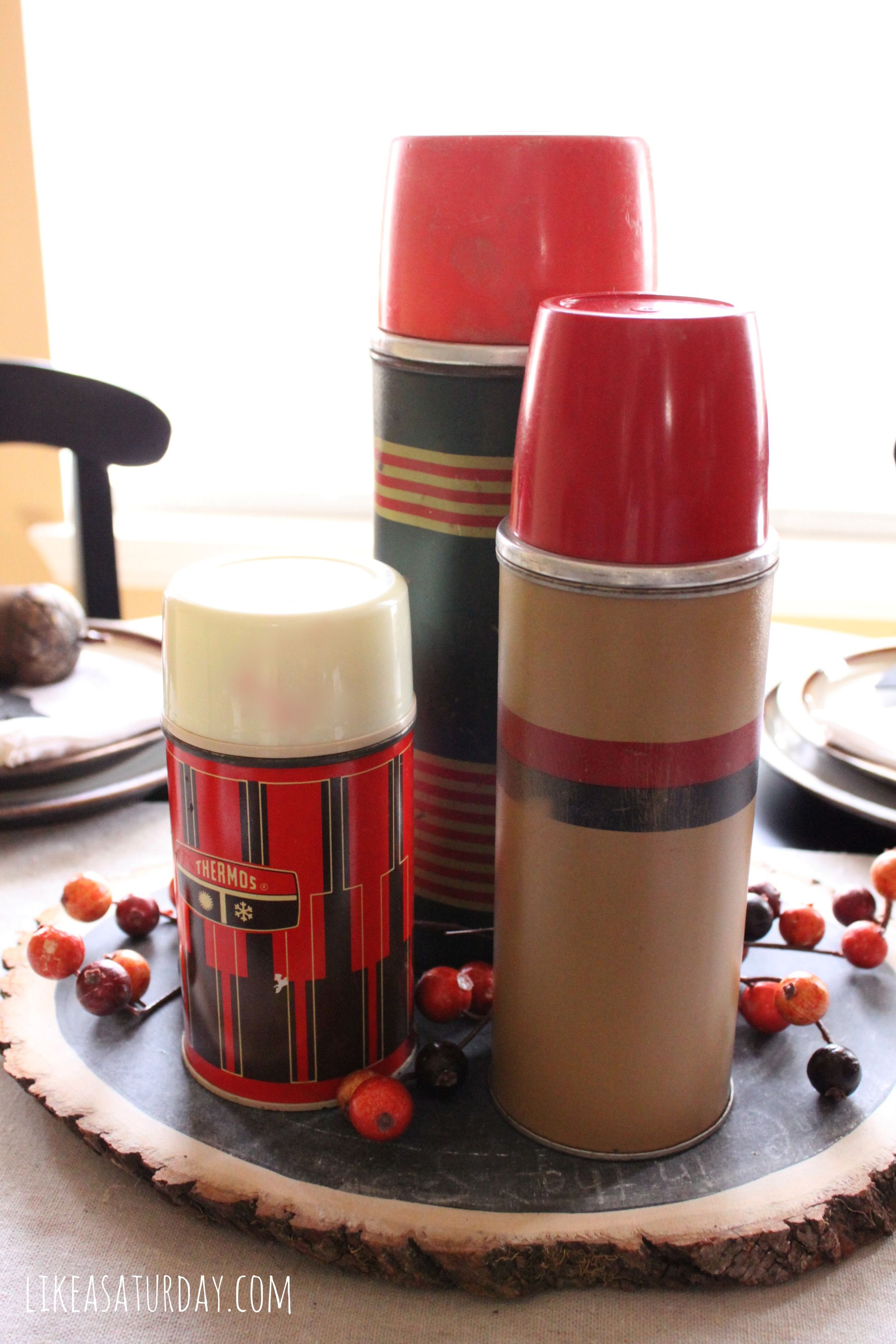 Fall Tablescape Vintage Camping Thermoses Pinterest