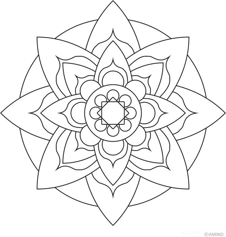 Lotus flower mandala coloring pages easy flower mandala for Easy flower coloring pages