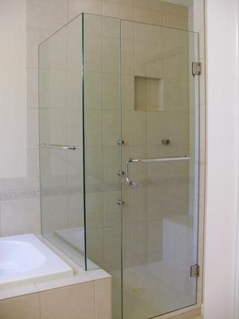 True Frameless Heavy Glass Shower Enclosure Chrome Clear With