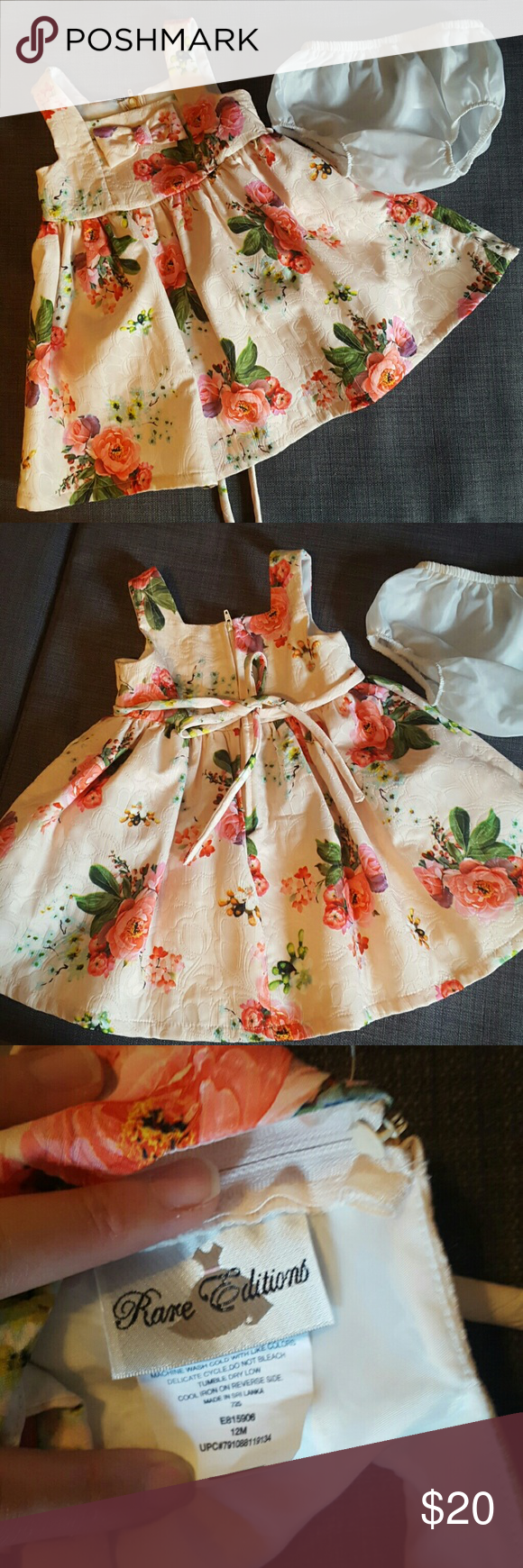 Girls dress 12 months Rare editions 12 months, 2 pc girls dress. Peach with roses pattern. Like new worn only 1-2 times. Rare Editions Dresses