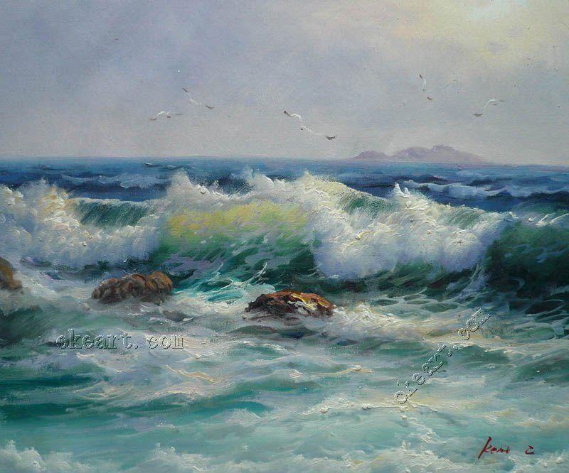 Ocean Waves foam breaking free in landscape oil painting Art