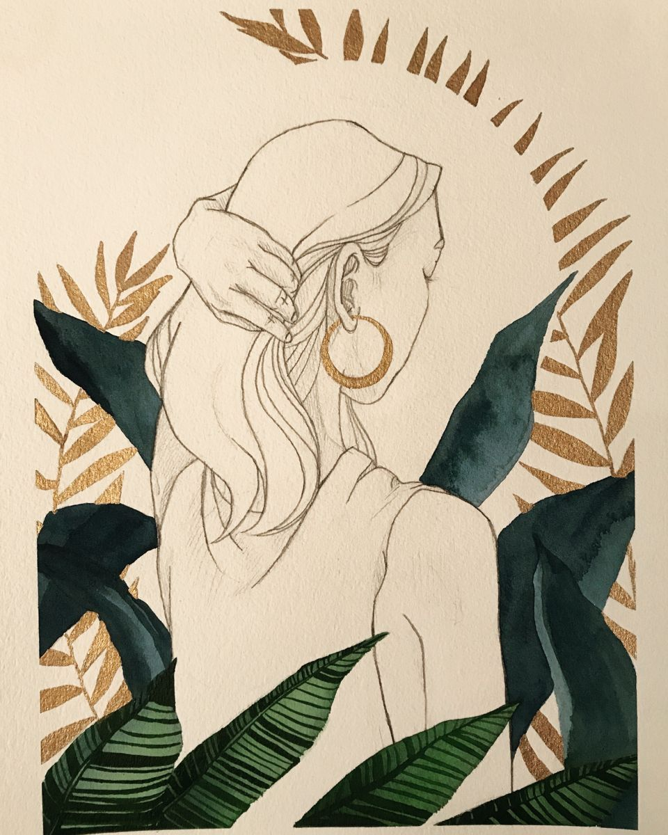 Pencil sketch & Watercolour on cold pressed watercolour paper. By Rebecca Stoneham.  #art #portrait #drawing #sketch #figuredrawing #watercolour #plants #houseplants #leaves #green #rosegold #gold #houseplant pencil drawing Moonlit Woman