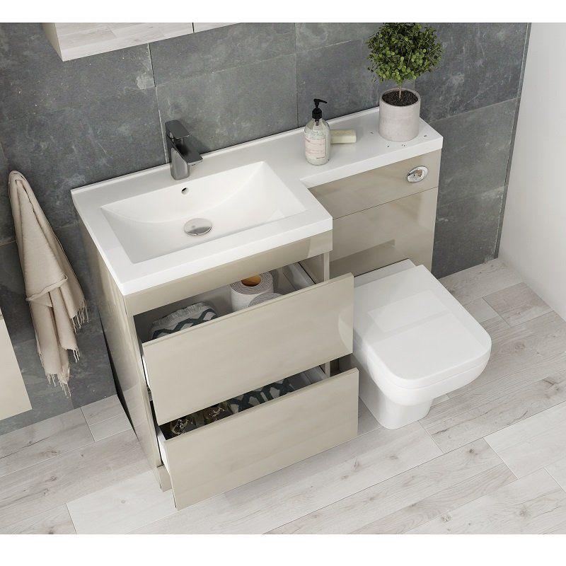 Pemberton Gold L Shape 2 Drawer Basin And Toilet Combination Vanity Unit Buy Online At Bathroom City Toilet And Sink Unit Combination Vanity Units Bathroom Design Small