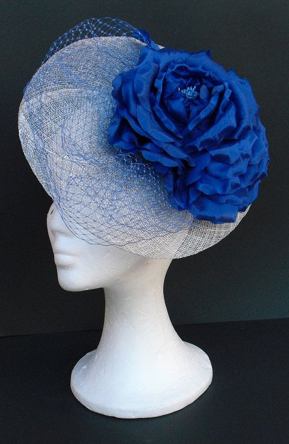Fascinator silver and royal blue hat headpiece   by TocameMika ... b6deb7a19c6