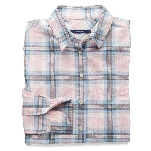 f3d18da716fe9 Women's GANT Plaid Flannel Dobby Straight Shirt ($47) ❤ liked on ...