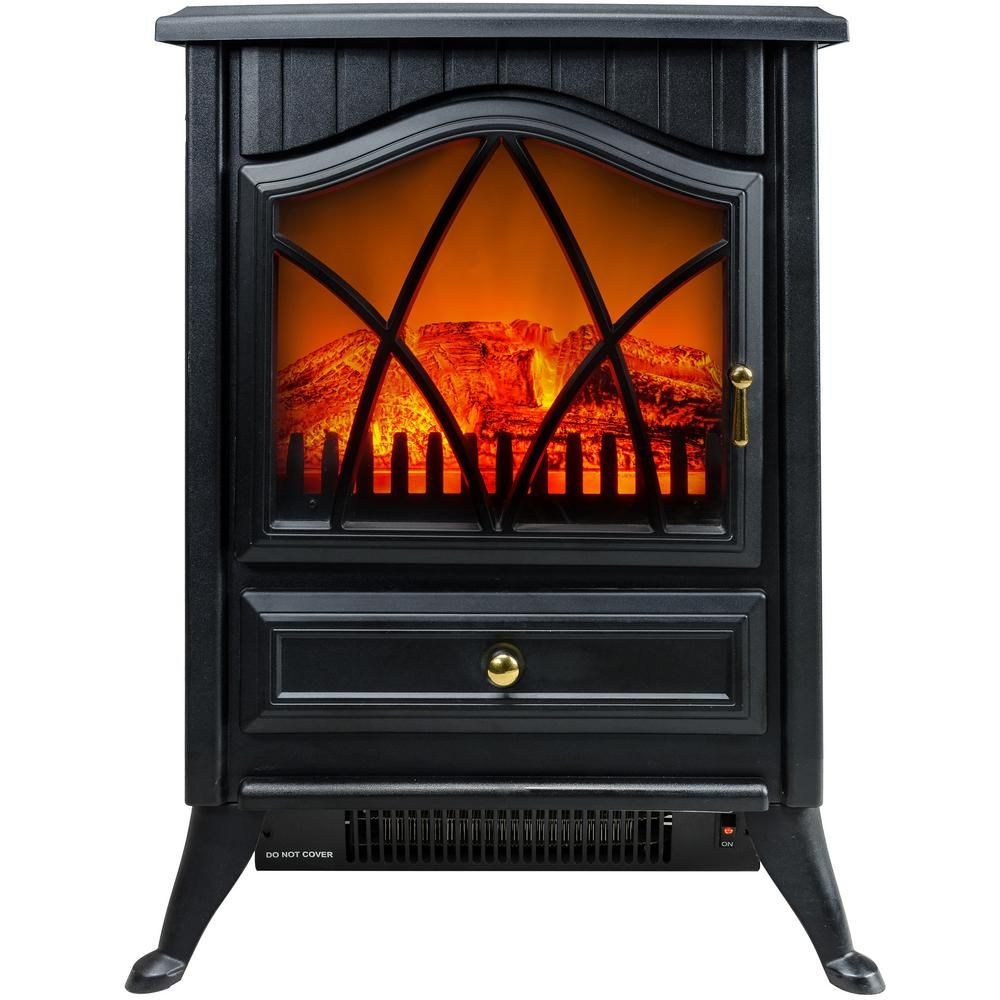 Akdy 400 Sq Ft Electric Stove In Black With Vintage Glass Door Realistic Flame And Logs Fp0006 The Home Depot Stove Heater Small Electric Fireplace Electric Stove Heaters