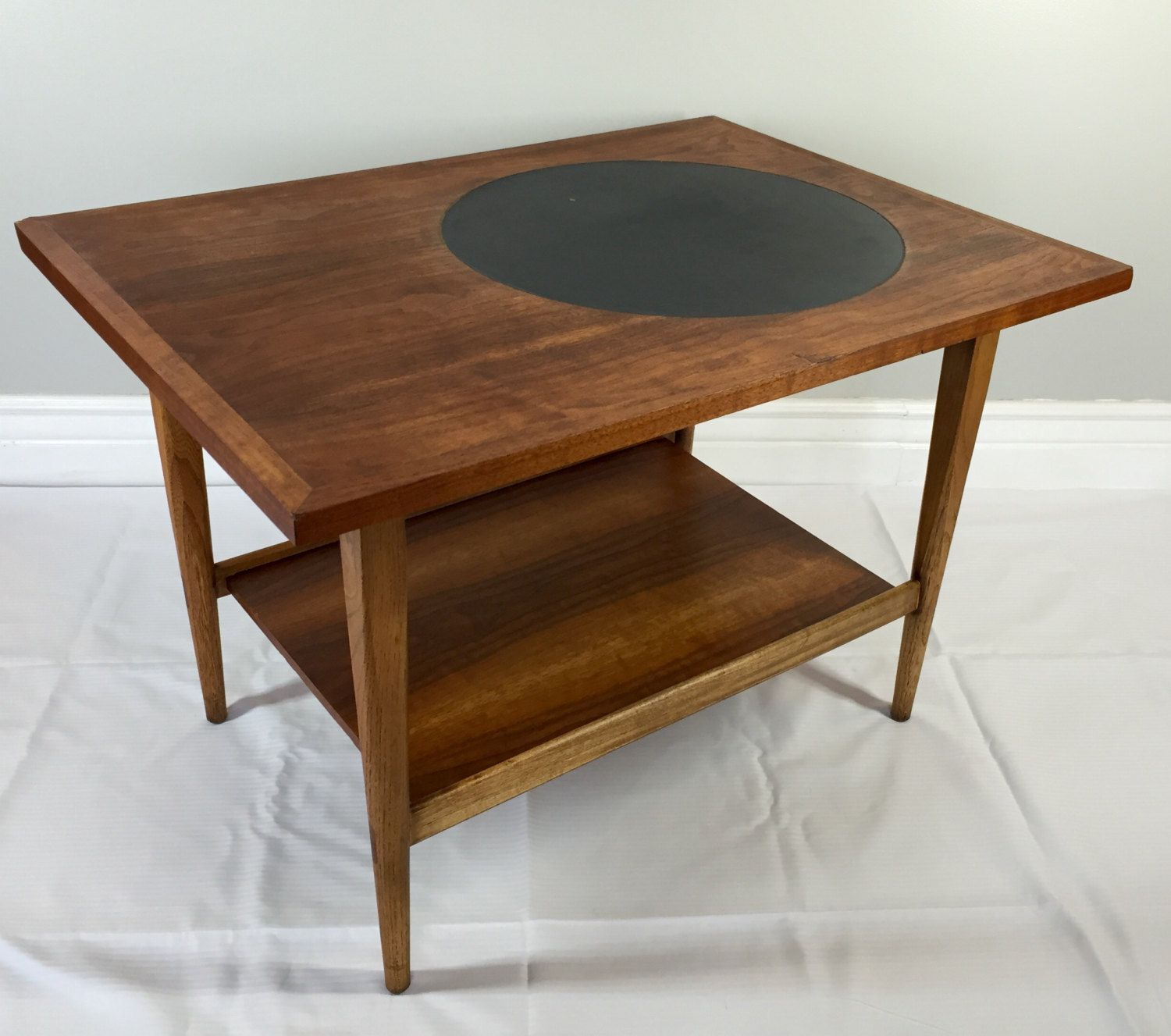 Mid Century Black Coffee Table Mid Century Modern Lane Altavista Walnut And Black Leather
