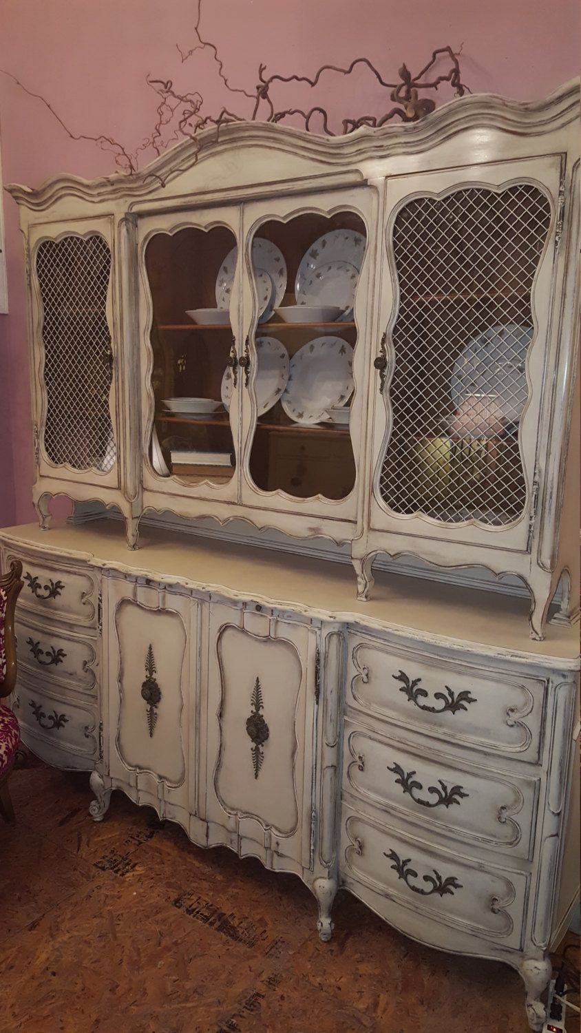 Antique Christina Country French China Cabinet By Tesshome On Etsy French China Antiques Vintage Shabby Chic
