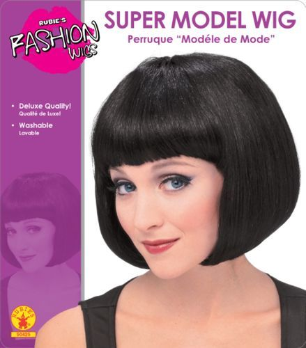 Purple and Black Supermodel Short Bob Wig with Bangs