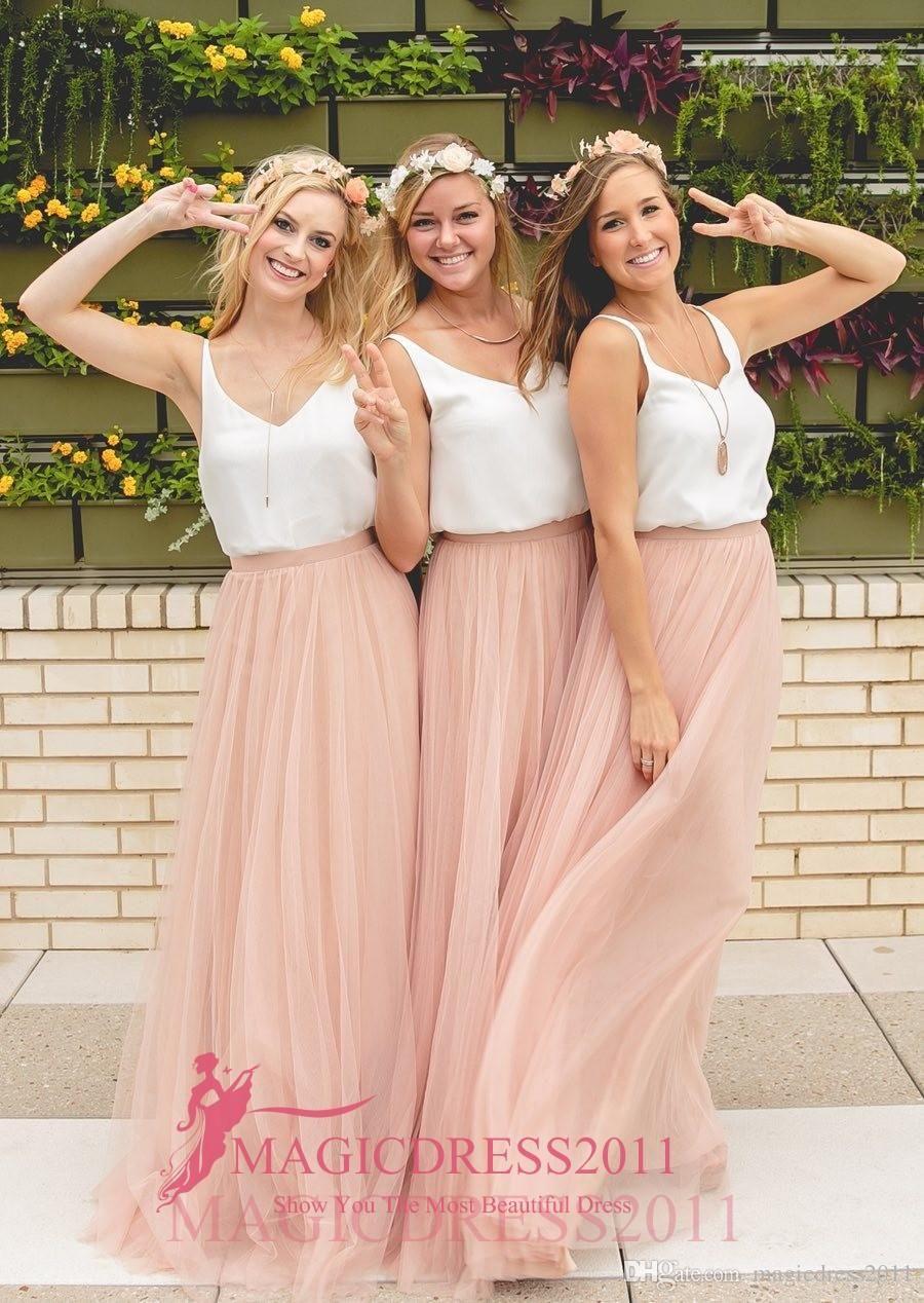 Two tone country wedding boho bridesmaid dresses blush tulle v neck