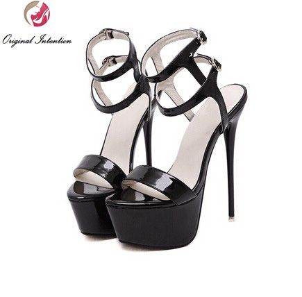 182c6c3dba7b Price tracker and history of Original Intention Women Sandals Patent  Leather Platform Thin Heels Sandals Black High-quality Shoes Woman Plus US  Size