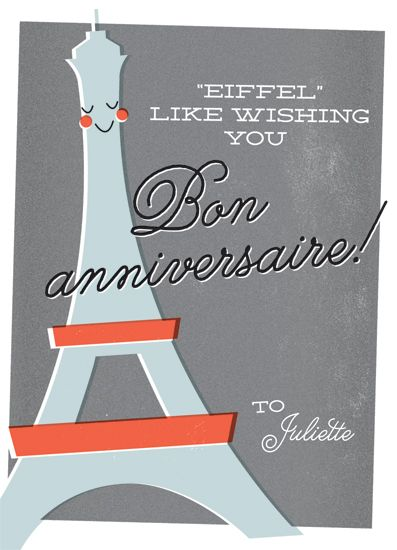 Greeting card happy birthday from france by chryssi tsoupanarias this playful birthday card uses a pun and retro imagery to wish the recipient a happy birthday in french stopboris Image collections