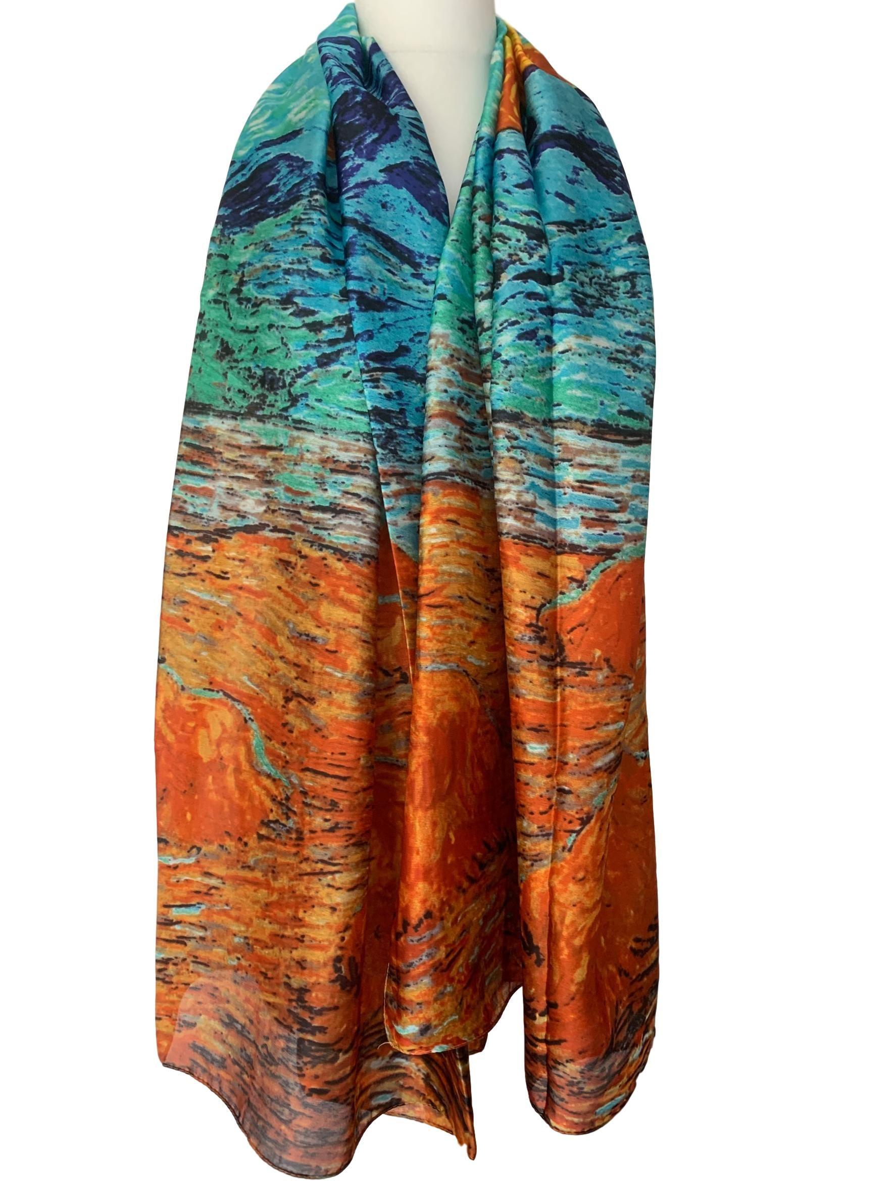 Orange Silk Scarf Turquoise Blue100 Pure Silk Ladies Large Abstract Print Scarf Scarf Print Silk Scarf Pure Silk Scarf