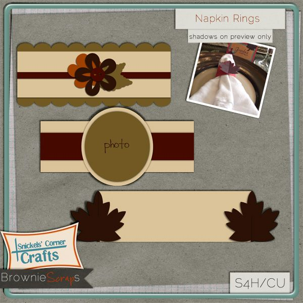 Napkin Rings from Snickels Corner Crafts: $1.50 @ browniescraps.com