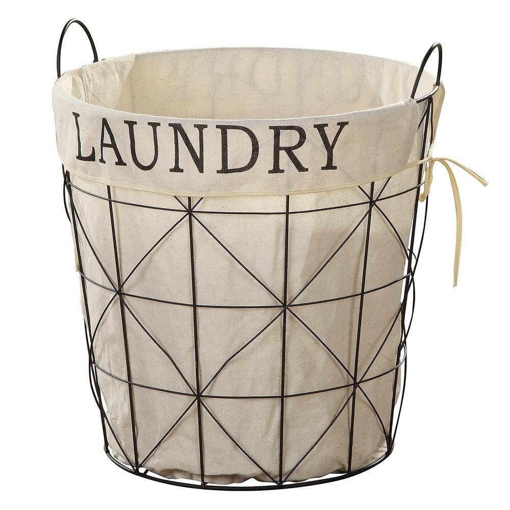 Firstime co farmhouse laundry basket 70077 metal