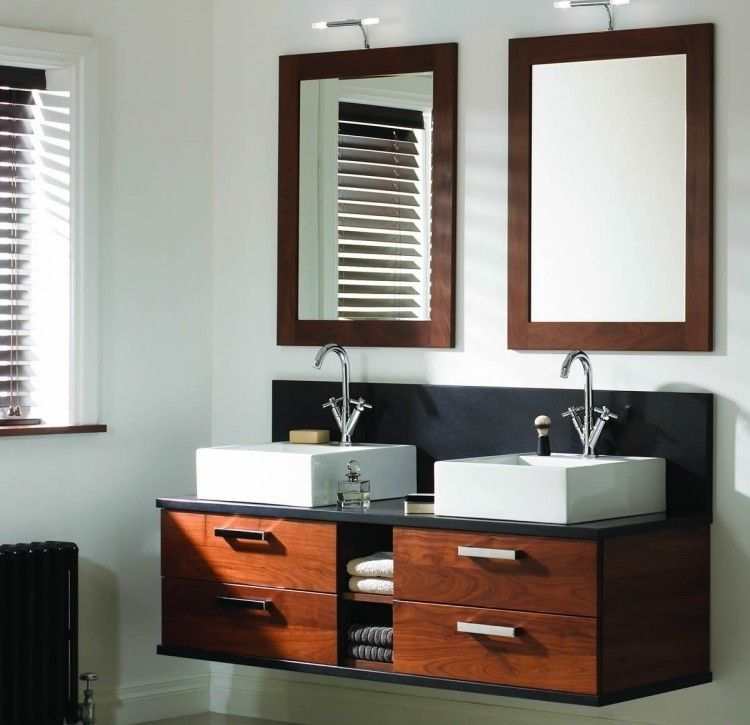 mueble de lavabos con encimera negra