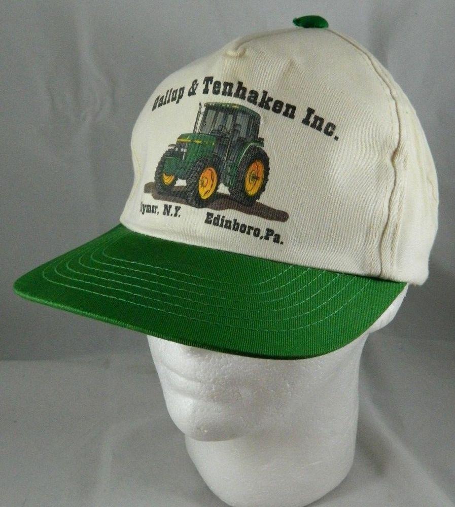 e3c794bd25a98 Vintage GALLUP   TENHAKEN John Deere Dealership Snapback Trucker Hat  Tractor Cap  YounganHat