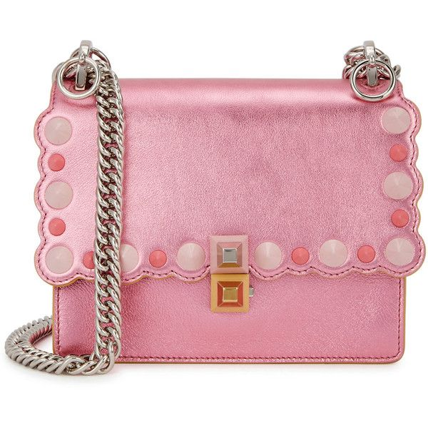 Fendi Kan I Small Metallic Pink Leather Shoulder Bag (15,310 HKD) ❤ liked on Polyvore featuring bags, handbags, shoulder bags, pink purse, leather shoulder bag, genuine leather handbags, chain shoulder bag and studded purse