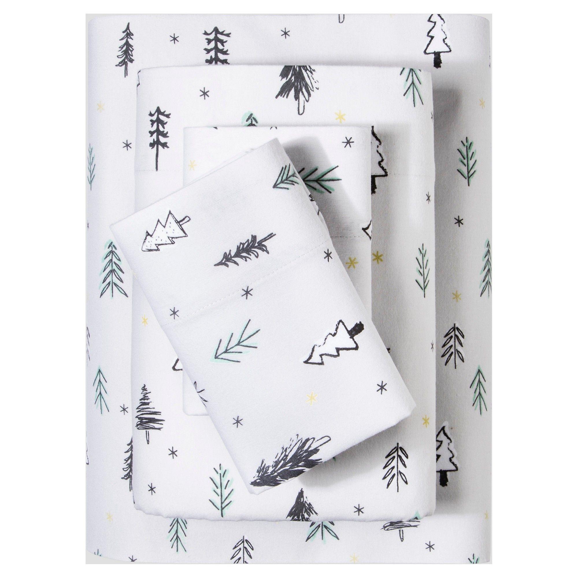 Flannel Sheet Set (Queen) Gray Forest Print (Queen