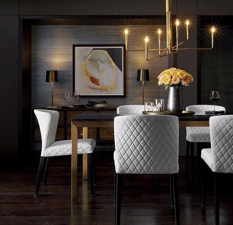Mesa de comedor Marmol negro y patas doradas | Casa in 2019 ...