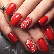 Ногти красные с дизайном