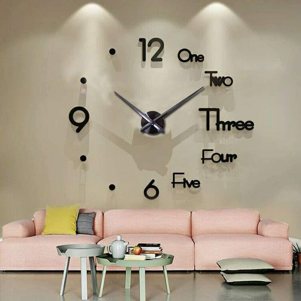 Vinjoyce Large 47 120cm 3d Diy Wall Clock Large Wall Clocks For Living Room Decor Silent Modern Wall Clock For Kitchen Office School Home Bedroom L In 2021 Wall Clock Wall Wall