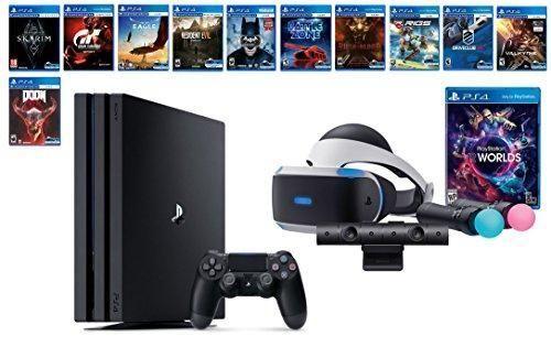 PlayStation VR Deluxe Collection Bundle (14 Items): VR Starter Bundle, PS4 Pro 1TB,12 VR Game Disc: Skyrim, Doom VFR, Gran Turismo Sport, Batman, Resident Evil, Rush of Blood,Valkyrie and More