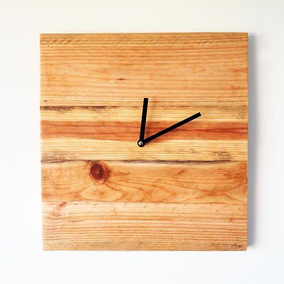 wall clock, square wall clock, reclaimed wood, scandinavian, rustic ...
